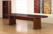 12 Foot Wooden Conference Table 144 X 48 Racetrack Shaped Top Half Drum Legs