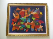 Vintage Mid Century Abstract Cubist Rare Painting Expressionism Listed New York