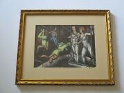 Antique Circus Drawing Acrobat Americana Expressionist Listed Rare Mod 1930and039s