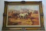 Large Native American Indian Painting Horses Desert Listed Bill Chappell 36 Inch
