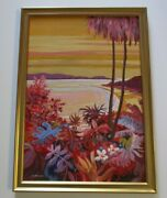 Gerald Brommer Painting Hawaii Tropical American Landscape Coastal Beach 1950and039s