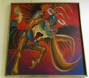 Becerra Painting Modernist Large 40 Inch Portrait 1970and039s Icon Iconic Warrior God