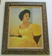Pretty Woman Vintage Model Female Oil Painting Listed Artist Fashion Timeless