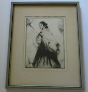 Antique Gene Kloss Etching Apache Wife Rare Native American Indian Portrait