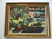 Finest Tricomi Oil Painting Mid Century Modern Abtstract Cubist Cubism 1960and039s