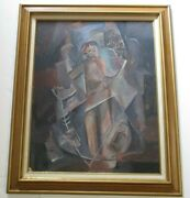 Antique Vintage Oil Painting 30 1940and039s Cubist Cubism Surrealism Abstract Mod