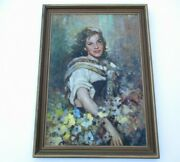 Large Antique Portrait Painting Italy Italian Pretty Woman Female Model Listed