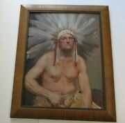 Large American Indian Painting With Headdress Chief Vintage 1950and039s Portrait Old