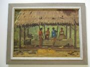 G.a Kadir Signed Oil Painting 1950and039s Bali Tropical Women Workers Village Island