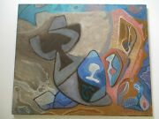 Philip North Painting Vintage Abstract Cubist Cubism Expressionism Surreal Mod