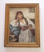 Antique Painting Of Seated Gypsy Woman With Cat Kitten Portrait Interior Signed