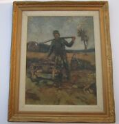 Antique Military Painting Russian German Signed Czak Large Oil 1910 Soldier