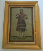 Antique Old Master Painting Large Religious Icon 19th Century Relic Portrait