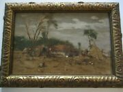 Antique Masterful Impressionist Oil Painting Landscape Village People Mystery