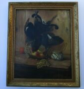 French Foucart Antique Painting Still Life Hunting Game Bird 19th -20th Century