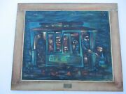 Mid Century Modern Painting Large Cubism Expressionism Streetcar Regionalism Wpa