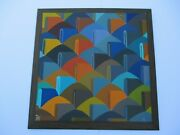 Vintage Pop Op Art Painting Geometric Dazzler Abstract Expressionism 1960and039s Big