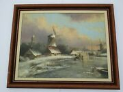 Antique Oil Painting Frozen Lake Winter Village Sled Windmill Landscape Signed