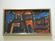 Miklos Nemeth Original Painting Budapest Hungarian Abstract Expressionist Mod
