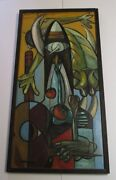 Miguel Marina Painting 1966 Abstract Surrealism Cubism Palomares Spain Large Oil