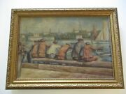 Antique Wpa Style Oil Painting 1930and039s Nautical Maritime Industrial Marina Beach