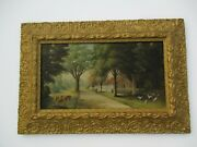 Antique American Landscape Painting Mystery Artist Cow Birds Home Town Road