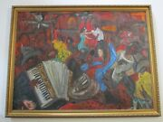 Painting Original Vintage Bar Saloon Club Band Modernism Abstract Expressionism