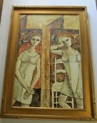 Rossini Painting Large 36 Inches. Modernist Cubism Portrait 1970and039s Expressionist