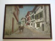 Antique 19th Century Oil Painting Village Town Street Scene Unique With Donkey