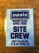 Oasis Laminated Backstage Pass Manchester City Fc Maine Road Andnbsp1996. Super Rare