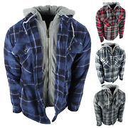 Mens Plaid Flannel Shirt Hoodie Soft Fuzzy Fleece Sherpa Lined Zip-up 4 Pocket