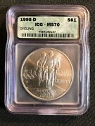1995-d Silver 1 Olympics Cycling Commemorative Dollar Igc Ms70
