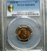 1925-d Lincoln Cent Wheat Penny --- Pcgs Ms-64 Red Slabbed ---- 837