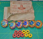 6 Vintage No.13 Never Stop Humming Tops Spring Spinning By Gibbs Usa Made