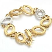 Vintage 14k 2 Tone Hammered Open Link Bracelet Made In Italy Yellow White Gold