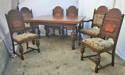Jacobean Oak And Walnut Spanish Revival Table And 6 Chairs Dining Set Circa 1920s