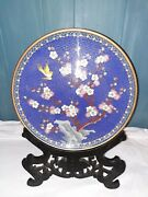 Antique Chinese Cloisonne 12 Charger/dish With Wood Stand Bird And Flower Tree