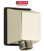Delta 50570-pn Square Wall Supply Elbow For Hand Shower Hose In Polished Nickel