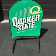 Large Vintage Quaker State Oil Metal Sign On Legs Advertising Collectible