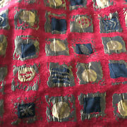 Vintage Heavy Velvet Chenille Fabric Faux Patchwork Lameand039 Brocade Couture Fabric