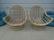 Pair Wide Bamboo Chairs Egg Clam Basket Bamboo Bucket Hollywood Regency Rattan 2