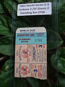 1962 World Series Game 3 Ticket Stub-yanks Vs Giantsmaris Mantle Larsen Mays