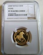 2008 Tuvalu 30 Gold 1/5 Oz. Horse Proof Ngc Pf70 - Perth Mint Issue