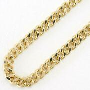 18k Yellow Gold Necklace About59cm Curb Chain 2sides Free Shipping Used