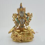 Gold Gilded Hand Carved Nepalese Green Tara Dholma Statue 9 From Patan Nepal