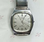 Mens Vintage Timex Automatic Water Resistant Silver Date Watch Ss Band