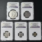 1895-1896 Pvg Puerto Rico Silver 5 Coin Set Ngc Au Details Must See