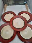 Pier 1 And039red Scrolland039 Dinnerware - 5 Dinner Plates