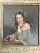 Early 19th Century English Oil Painting Girl At Desk In Ornate Period Frame