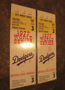 Pair Of 1977 World Series Ticket Stubs-game 3, Seats 5 And 6, Field Box Z, Nr Mint